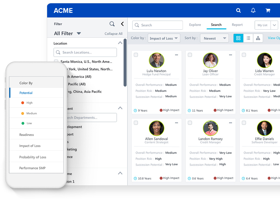 product screen filtering through employees
