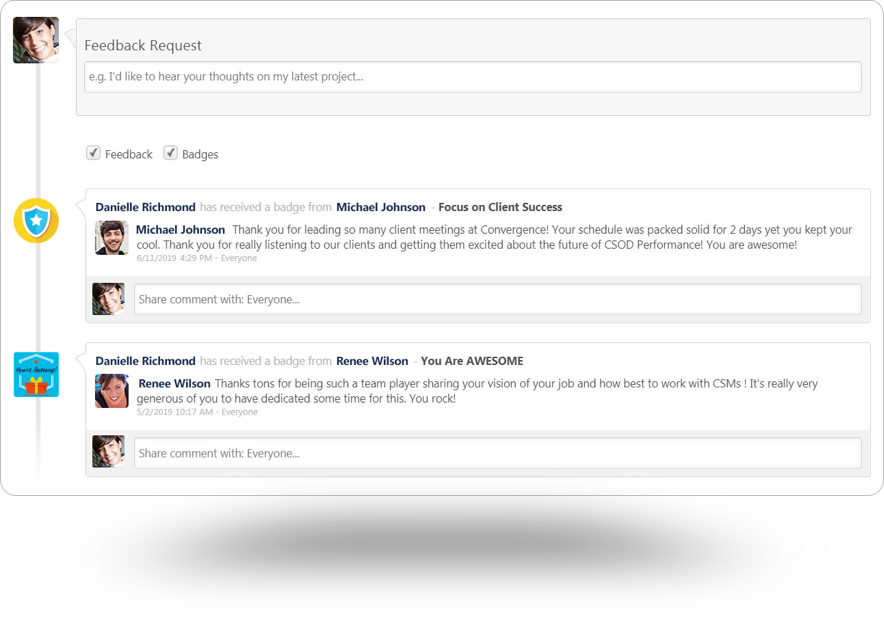 product screen showing feedback received by employee