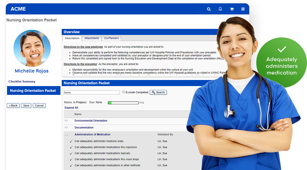 nurse standing in front of product screen of herself