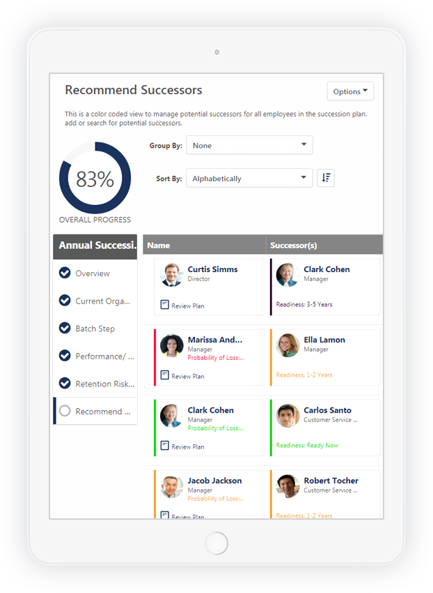 ipad product screen showing recommended successors