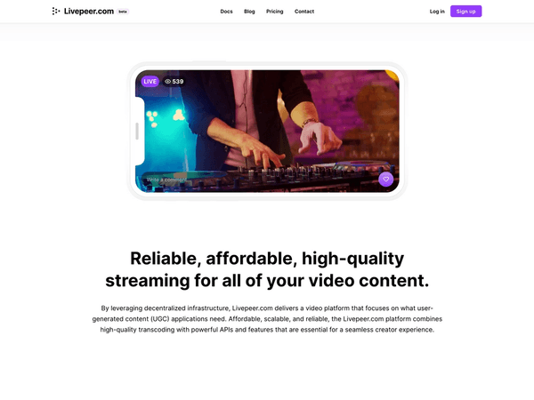 Livepeer.com homepage