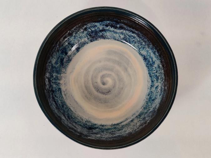 ceramicLarge Serving Bowl (deep blue and tan)