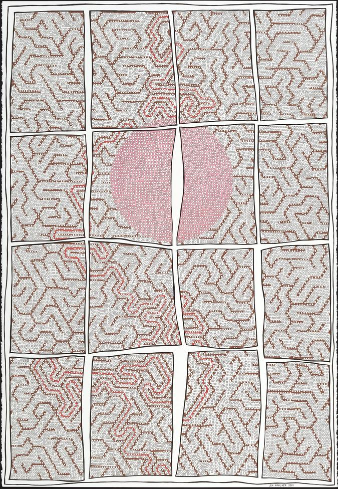 pen and colored pencil drawing, Grid with Maze by Jen Wohlner
