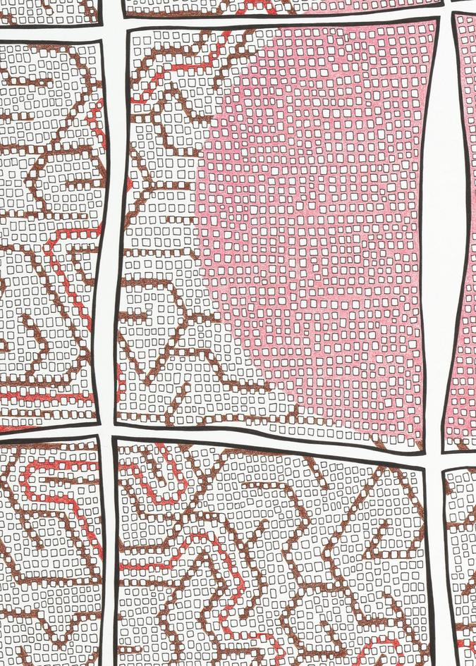 detail of pen and colored pencil drawing, Grid with Maze by Jen Wohlner