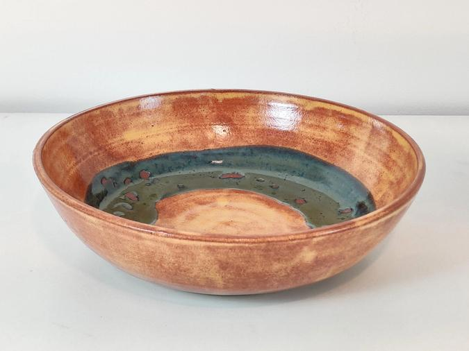 ceramic Serving Bowl (brown and blue green)