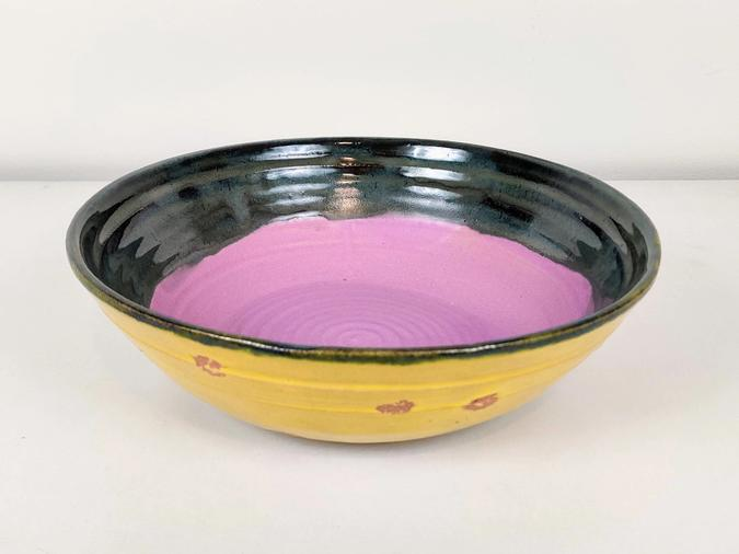 ceramic Serving Bowl (pink, blue green and yellow with dots)