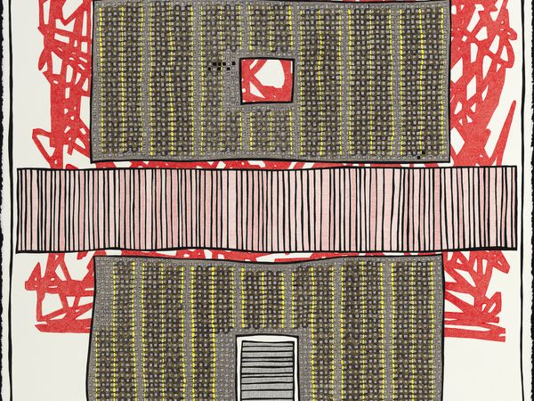pen and colored pencil drawing Hostile House by Jen Wohlner