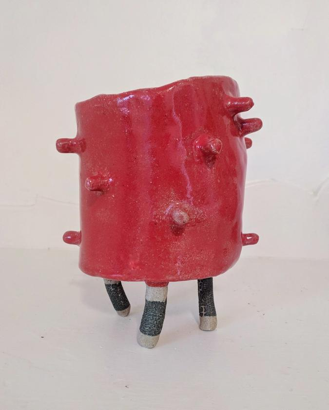 Red Vessel with Wobbly-looking Crackled Legs