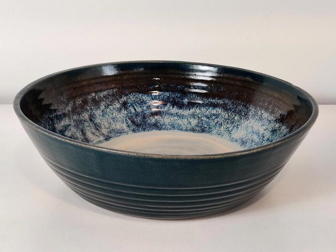 ceramic Large Serving Bowl (deep blue and tan)