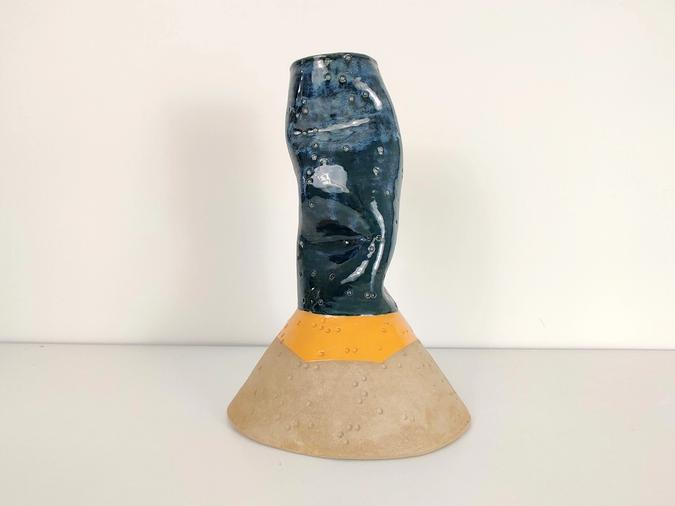 ceramic Untitled Vase (denim and orange)