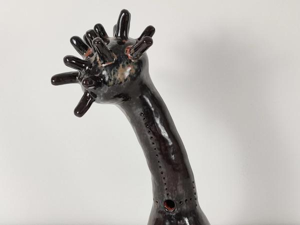 detail of Morning Star Trophy ceramic sculpture