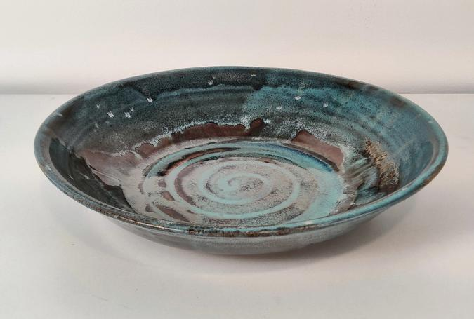 ceramic Large Serving Bowl (drippy blues with brown)