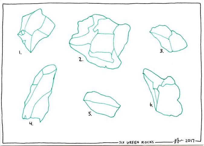 Six Green Rocks drawing