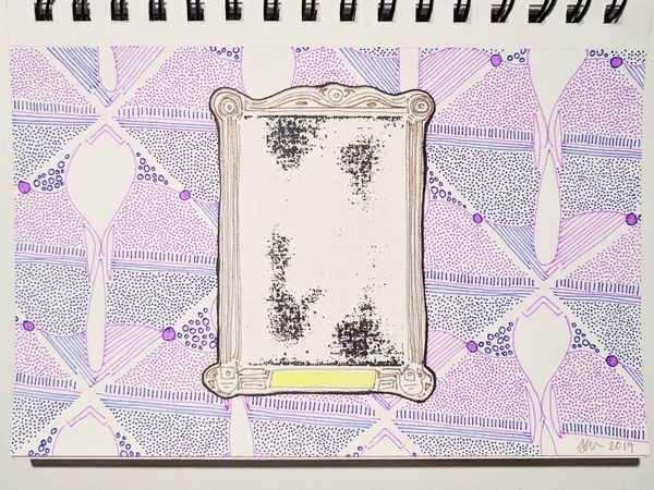 Drawing of a Small Unknown Shiny Artwork Mounted on a Wall Papered Wall