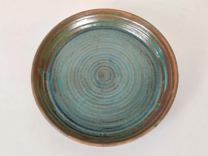 ceramic Shallow bowl / Platter (green metal and brown)