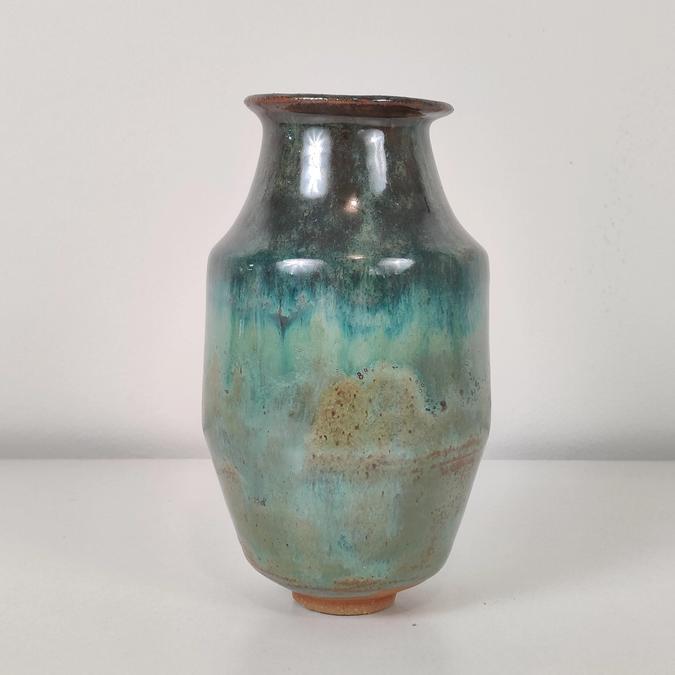 ceramic Small Vase (green metal)