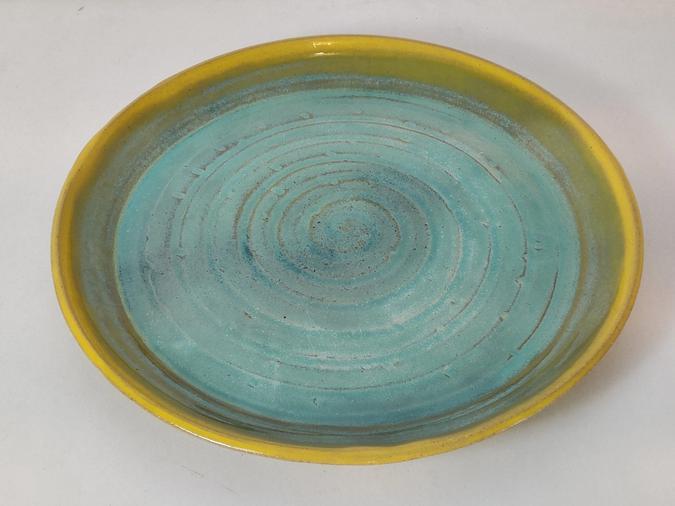 ceramic Platter (yellow and ocean)