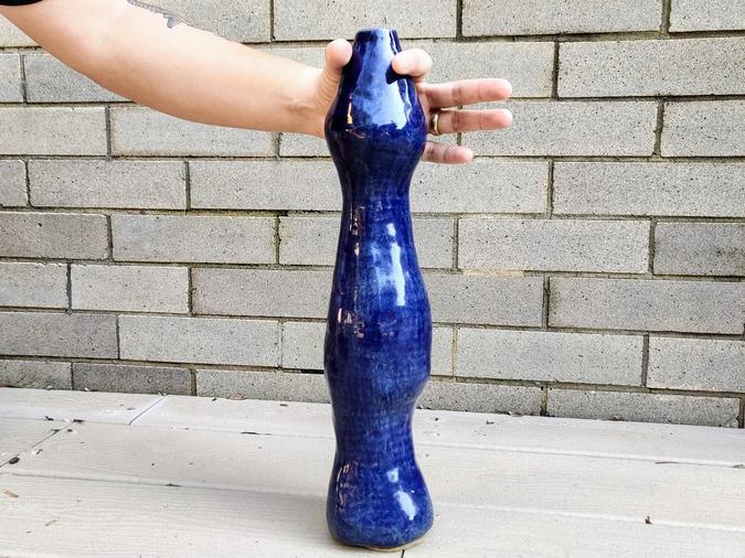 ceramic Blue Vase for a Butthole