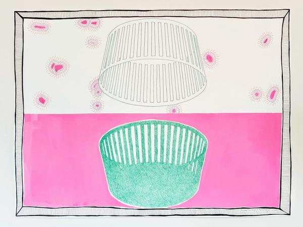 Pink and Green Drawing with a Drawn Frame