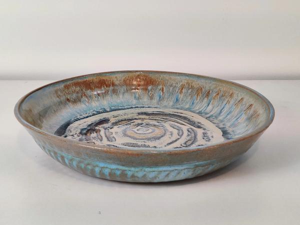 ceramic Large Serving Bowl (light blue and tan ocean waves)