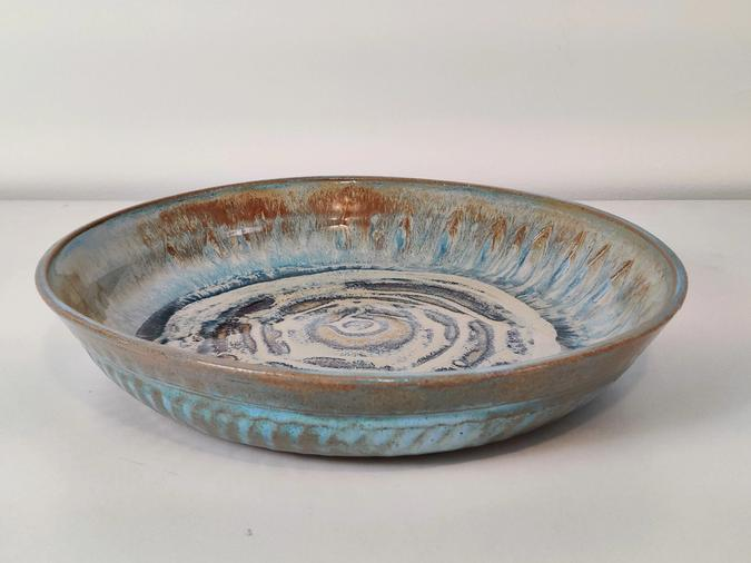 Large Serving Bowl (light blue and tan ocean waves)