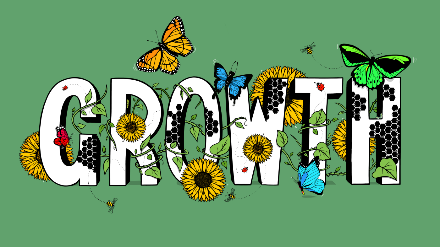 Illustration Growth Typography