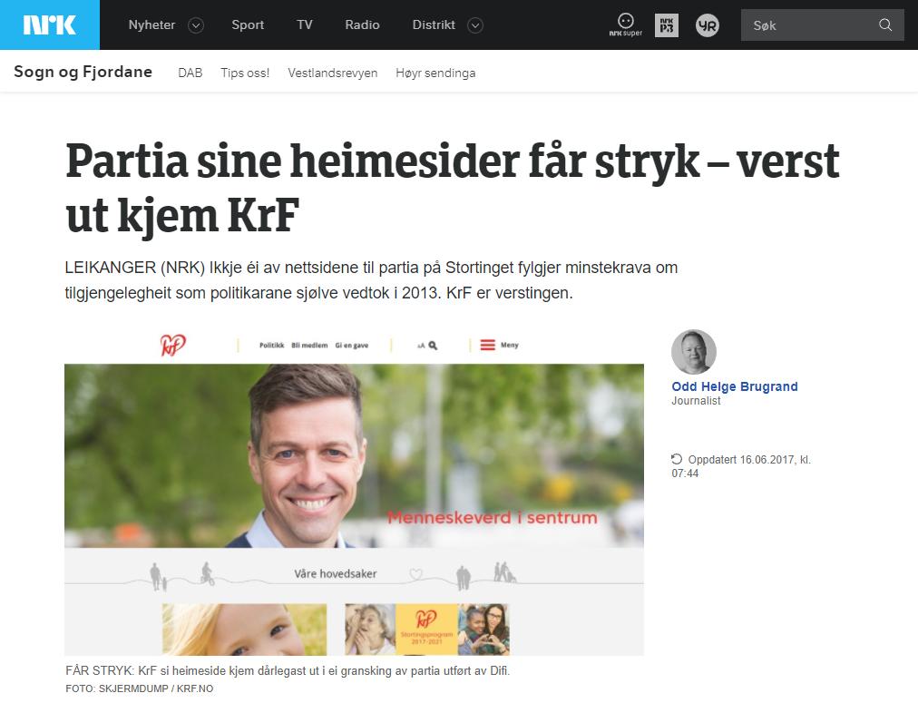 Skjermbilde av en artikke på NRK.no