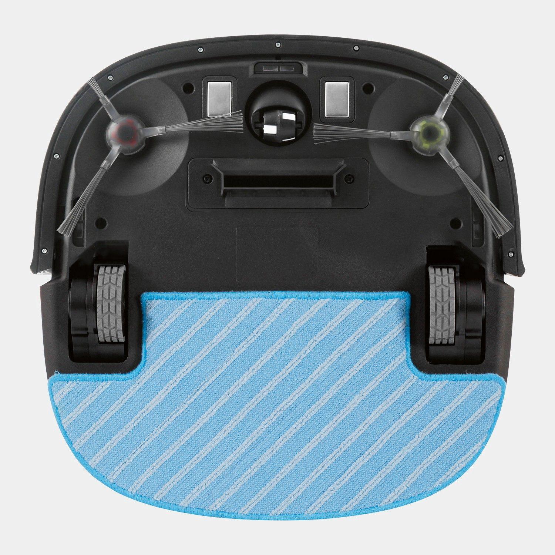 Børster samler støv inn mot åpningen som suger det opp. Den blå mikrofiberkluten samler opp resten.