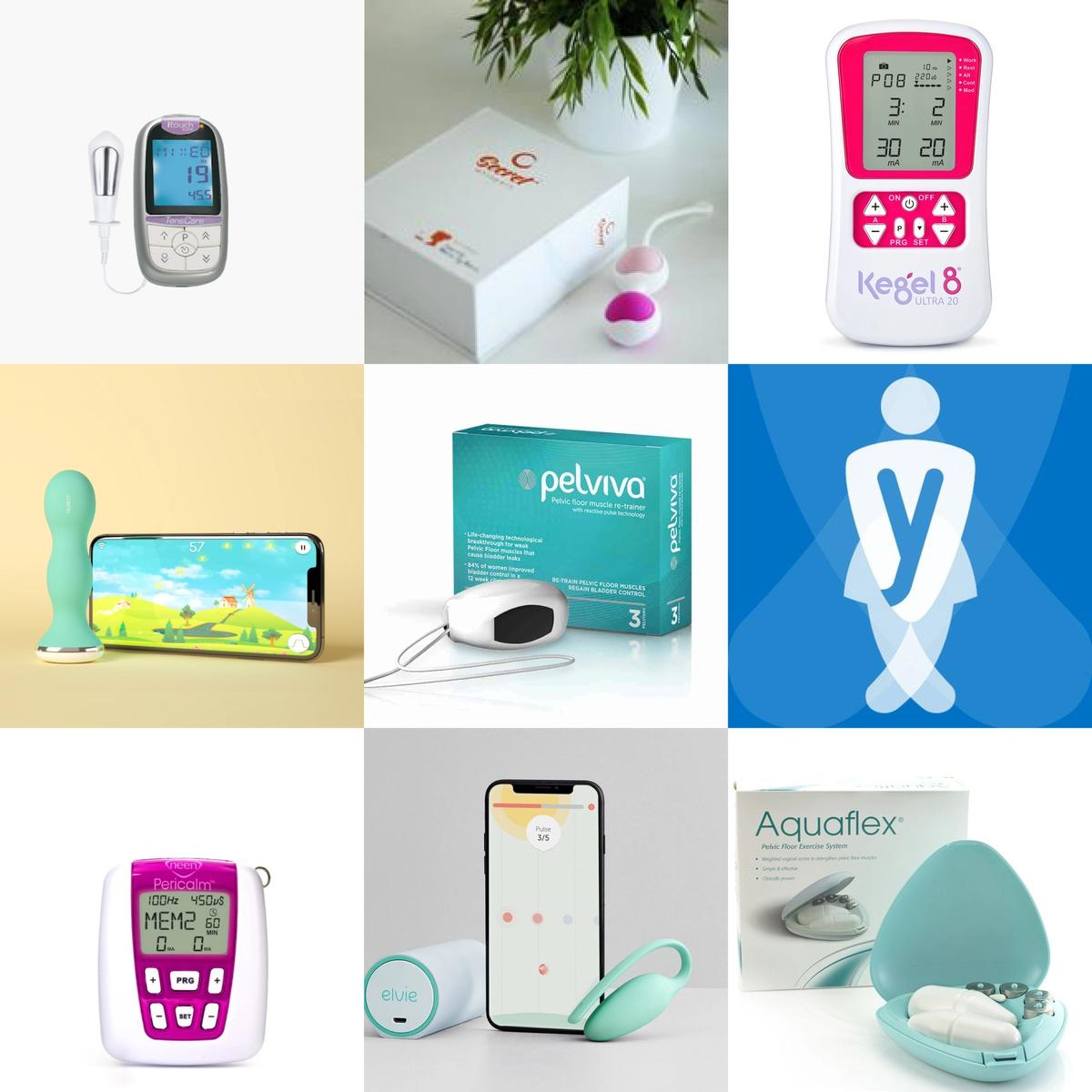 Images of various pelvic floor gadgets