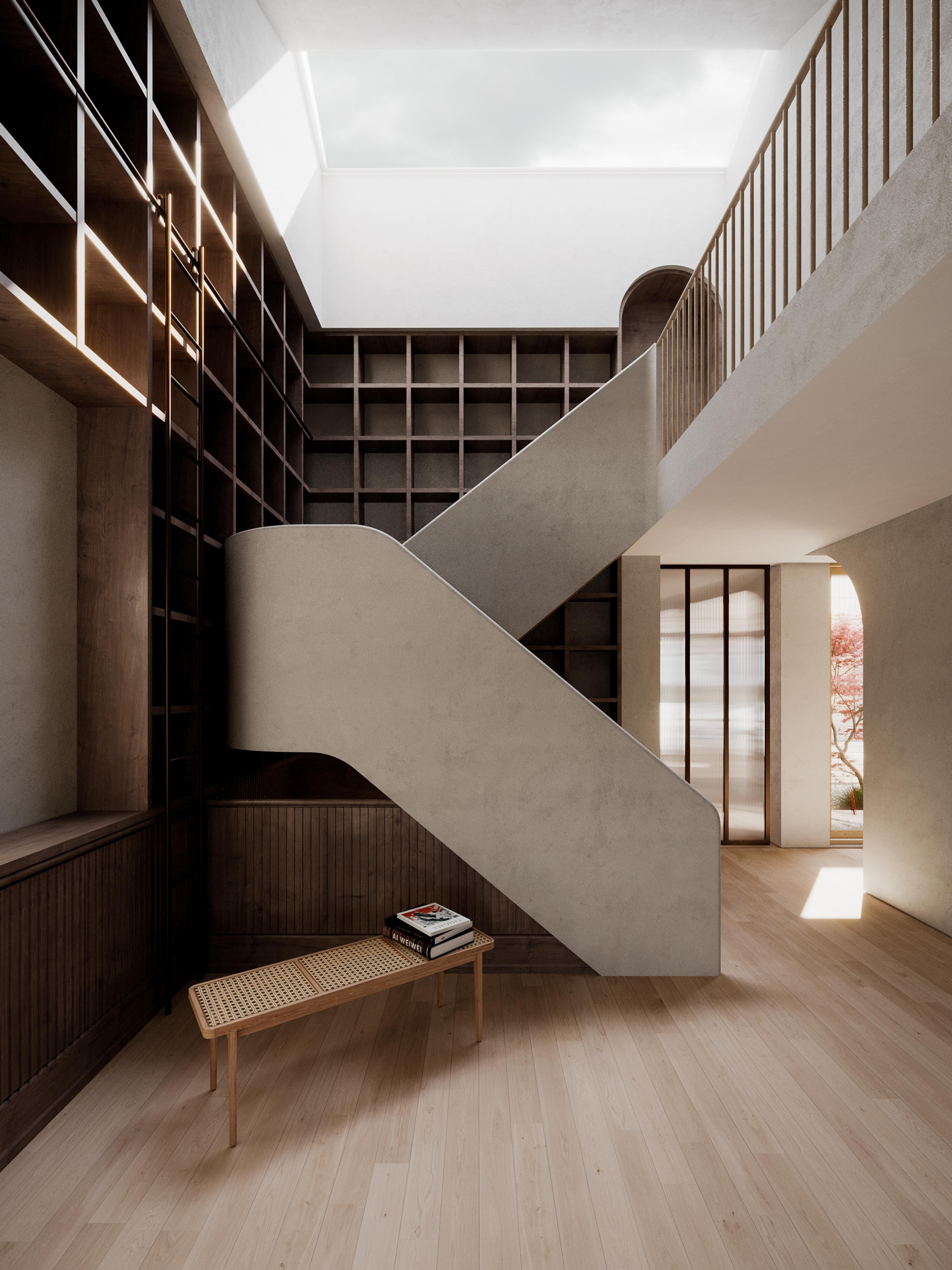 Library and staircase