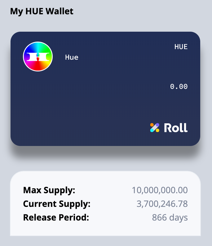 An example Connie Digital $HUE wallet