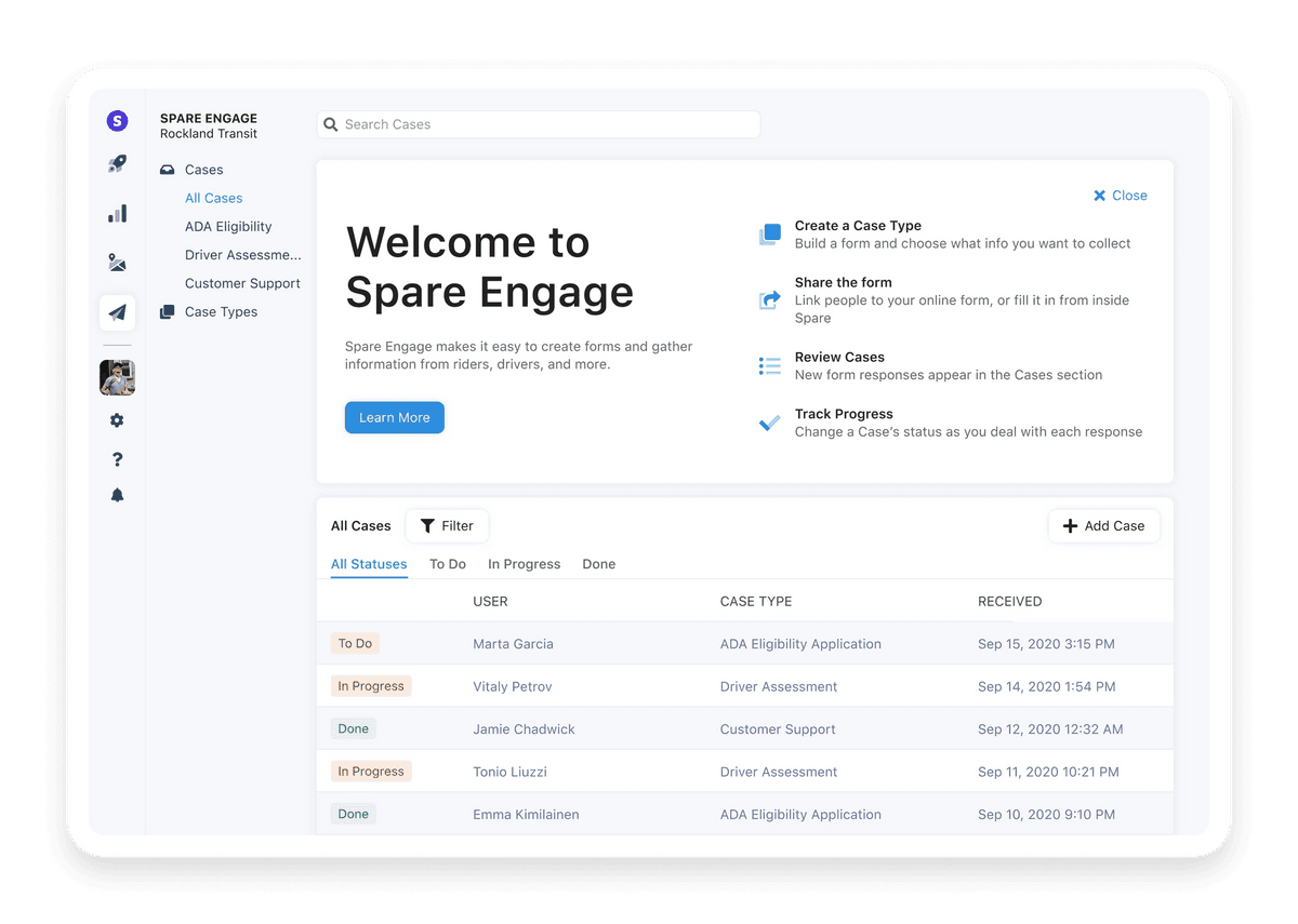 Screenshot of Spare Engage