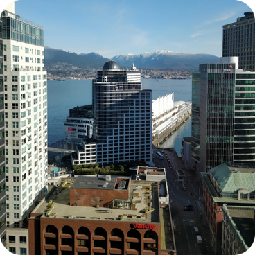 Vancouver office with mountains behind