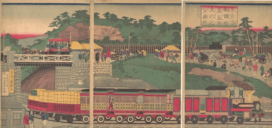 Japanese wood block artwork of railway