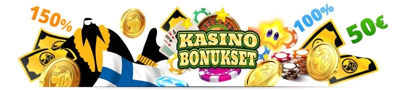 Kasinobonuksia listattuna, kuten talletusbonus, ensitalletusbonus, cashback-bonus. reload bonus