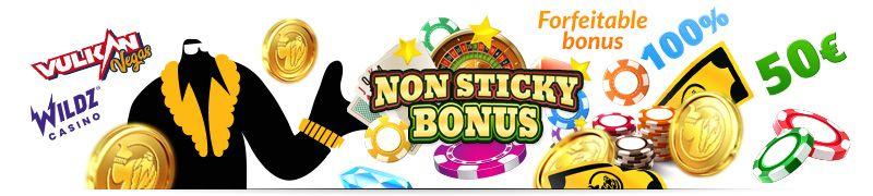 Non sticky bonukset - forfeitable bonuksia tarjoavat kasinot listaus