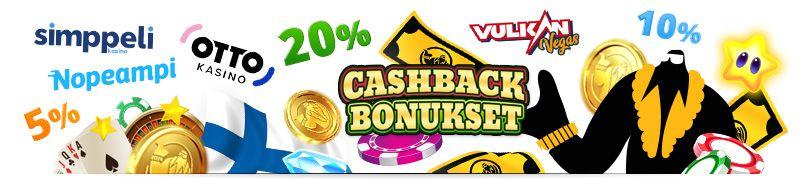cashback bonuksia, sää käteispalautuksia tappioista, esimerkiksi wildz ja pikakasinoilta