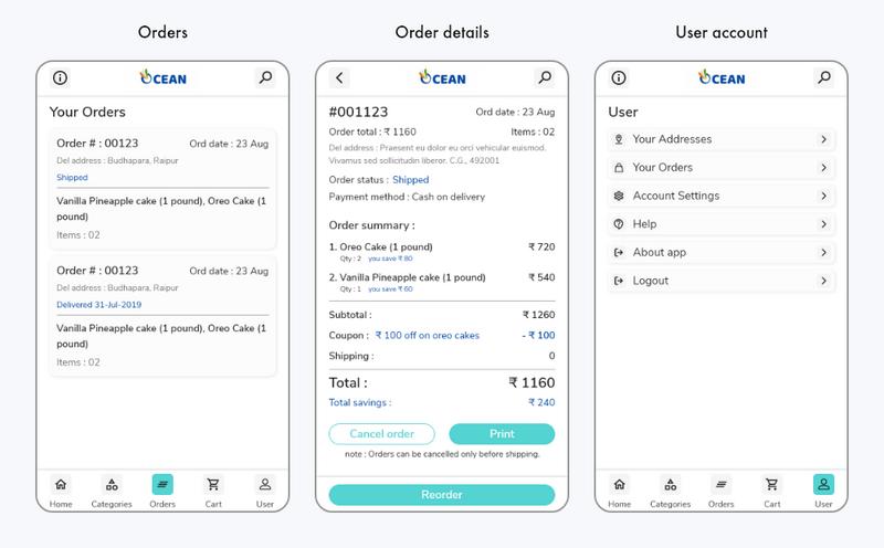 Ocean app UI screens