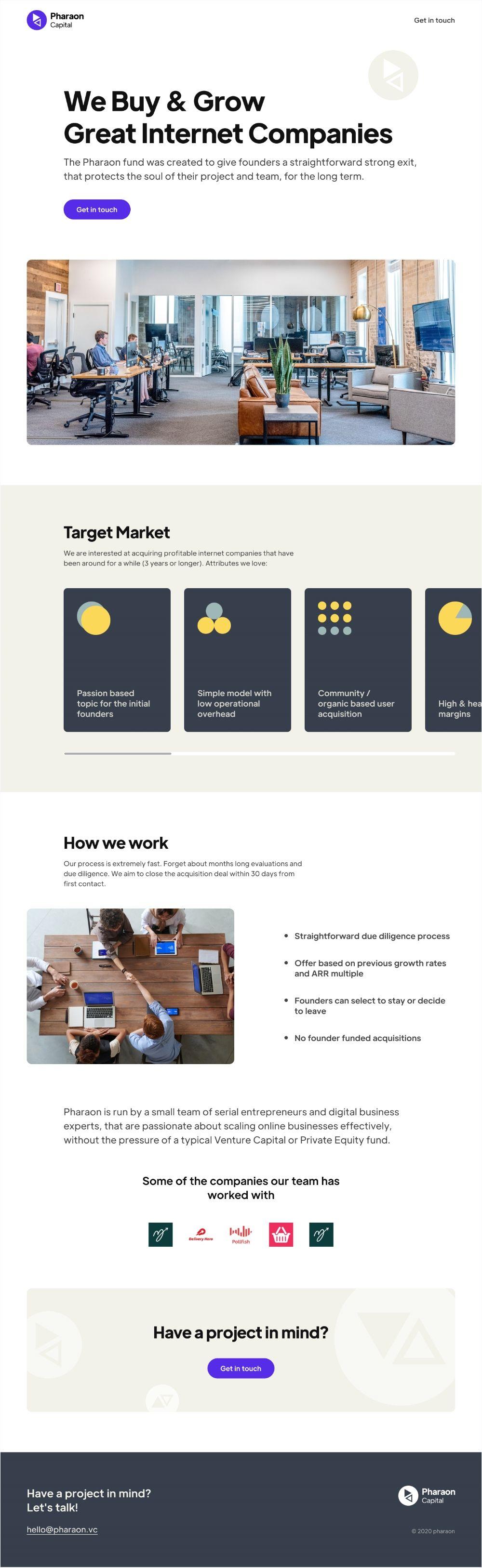 Pharaon capital homepage UI
