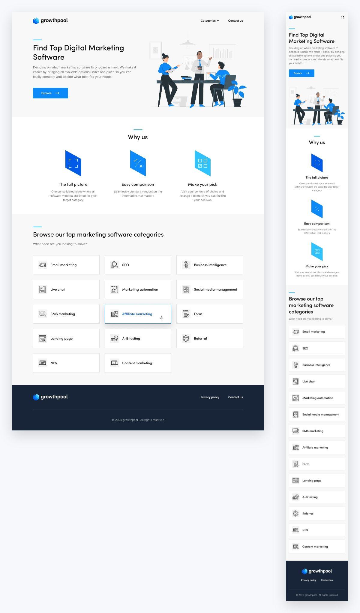 Growthpool UI design homepage