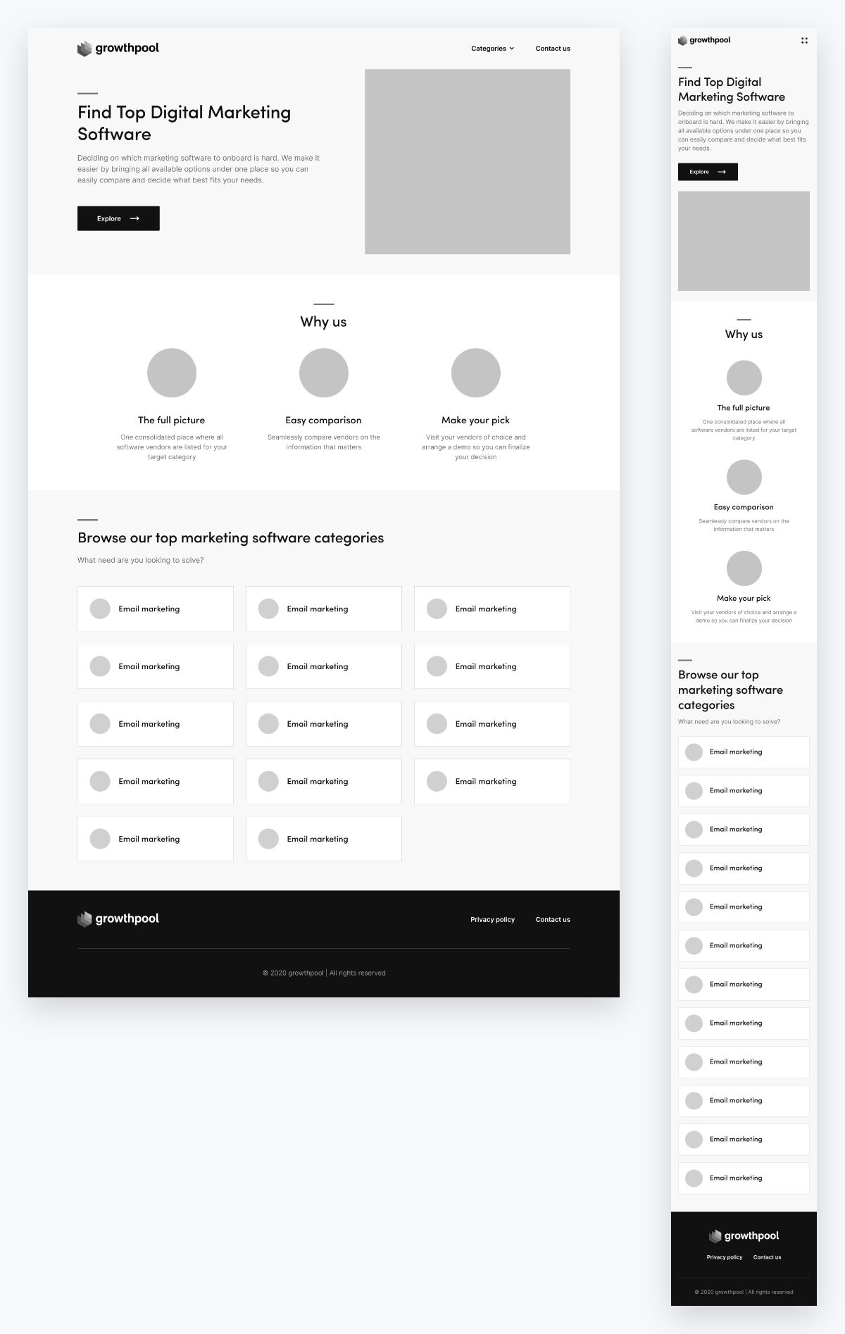 Growthpool wireframes