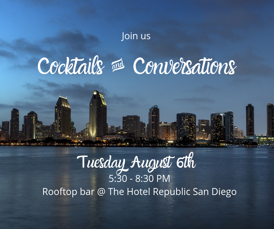 An image showing details for Elevate Cocktails & Conversations event on Aug. 6 in San Diego