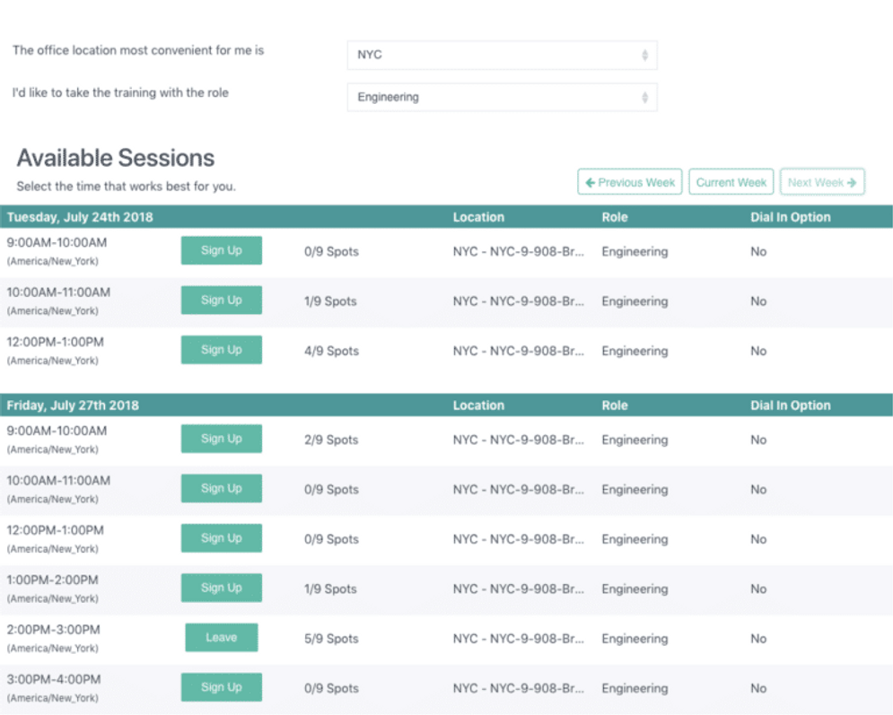 A screenshot from the Elevate Platform showing scheduled security training sessions