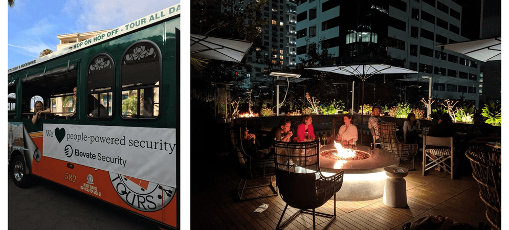 Left – Trolley with Elevate Security banner; Right – a group of security awareness practitioners around a firepit at a meetup