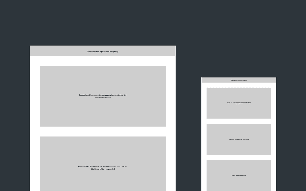 Early rough wireframes