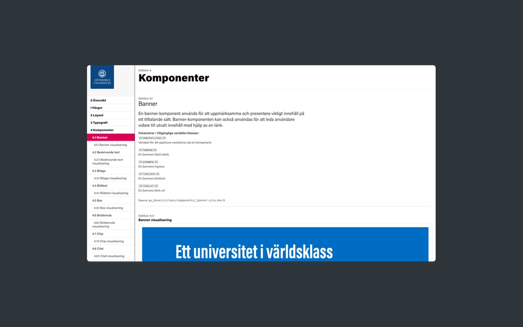 Screenshot of University of Gothenburg's style guide