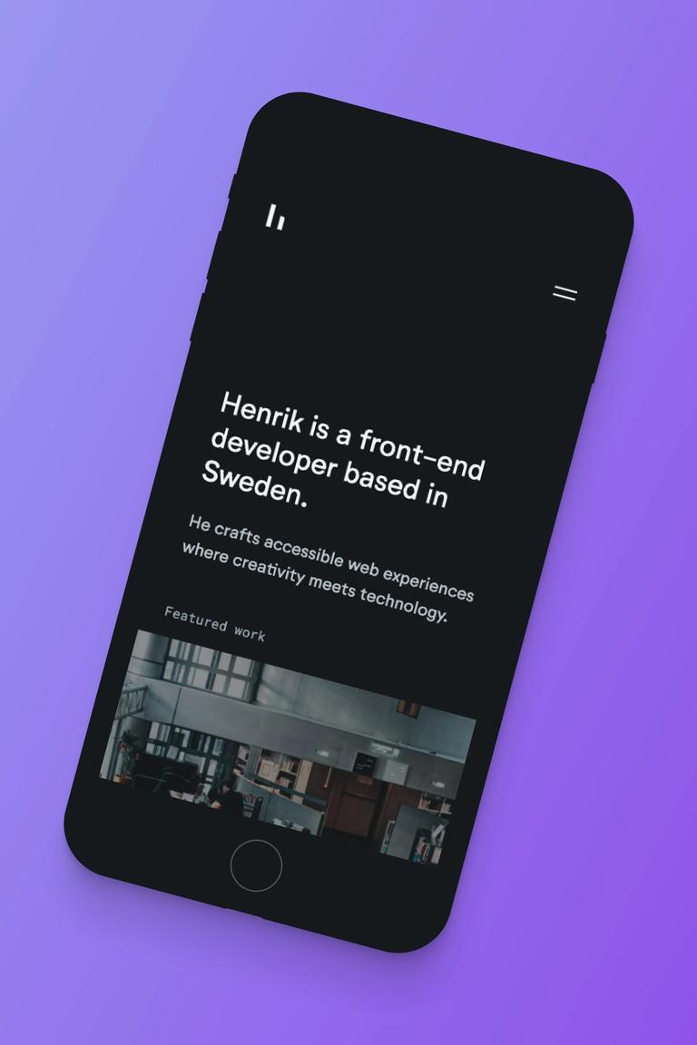 Mobile screenshot of Henrik's portfolio