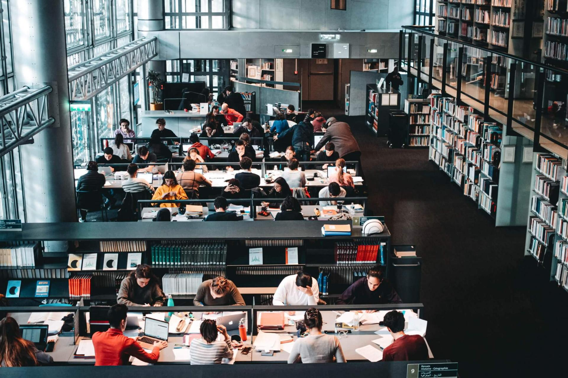 Students in university library