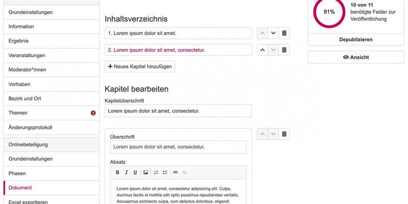 Dashboard-Ansicht eines Projekts, mit Navigationstabs und Inhalt