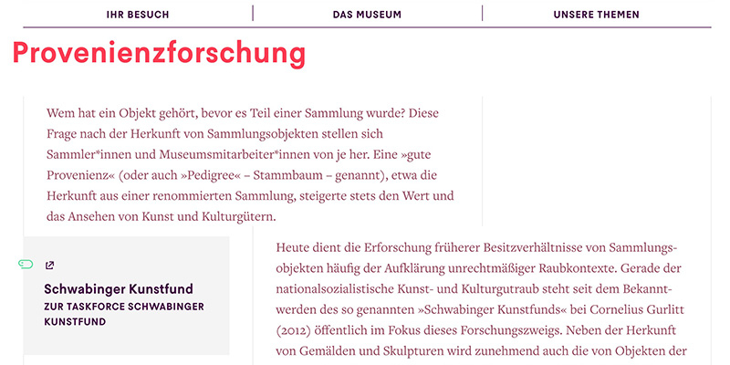 Eine Unterseite des Jüdischen Museums Berlin